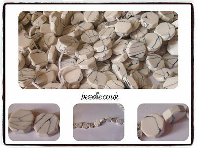 Hand Cut Semi Precious Gemstone White Howlite Octagon Beads - approx 10mm x 4mm