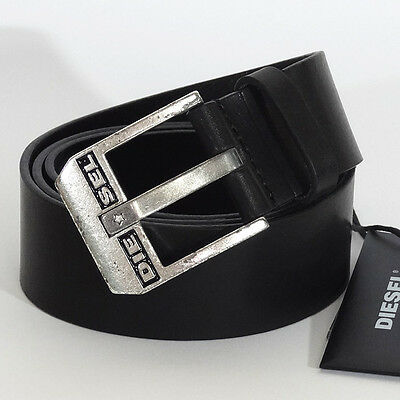 DIESEL 'BLUESTAR Cintura' Men`s Black Belt 100% Cow Leather