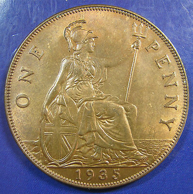 1935 1d George V bronze Penny in a lovely lustrous UNC