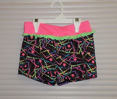 Freestyle Danskin Girls Dance Gymnastics Shorts 10-12 Neon Polka Dots & Stars