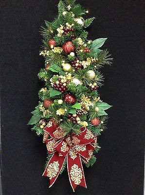 Wall Tree, Cordless Christmas Decor with battery operated LED light.