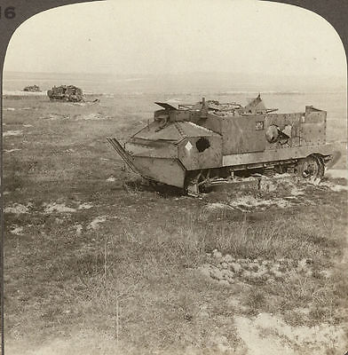 French Tanks Destroyed at Juvincourt, April 1917. Underwood Stereoview #18