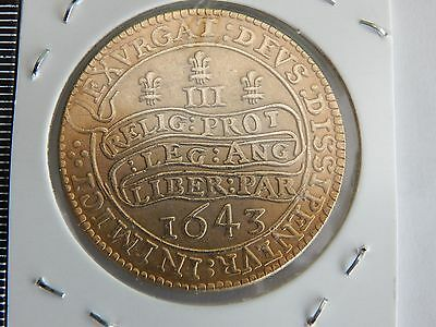 1643 triple unite charles 1st gold plated 350th anniversary