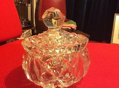 Cut Glass Bowl And Lid.excellent Condition. A Good Fitting Lid. Pretty. Quality.