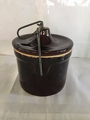 Vintage Brown Ceramic Pottery Cheese Crock Holder Jar Container