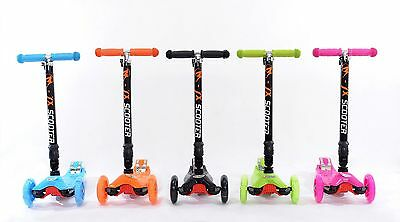 Kids Tri Folding Scooter Push 3 Wheel T Scooters With Flashing Light Adjustable