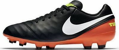 Nike Men's Tiempo Genio II Leather FG 819213-018 Black/Orange Multiple Sizes