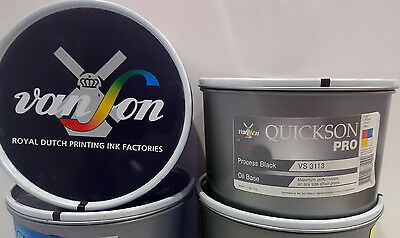 Van Son, Quickson PRO Printing Ink, Oil Base PROCESS BLACK 2.2lbs/