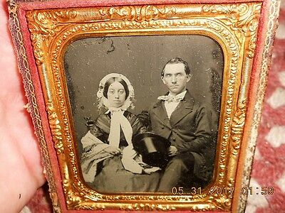 Mid 19Th Century Ruby Ambrotype Of Man And Wife Great Clothes W Top Hat & Bonnet