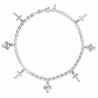 925 Sterling Silver Cross Design Charm Anklet Stamped 925 Italy