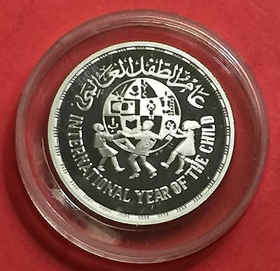 Egypt 1981 Year of Child 5 Pounds Silver Coin Proof...high grade condition.
