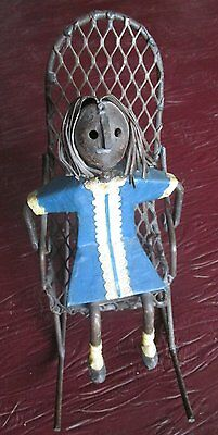 Manuel Felguerez Metal Art Sculpture-Girl On a Rocking Chair