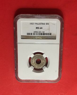 Palestine -Uncirculated 5 Mils 1927 Certified By Pcgs Ms64.