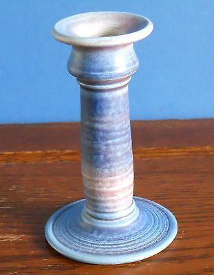 A Scottish stoneware studio Candlestick in blue by South Lissens pottery