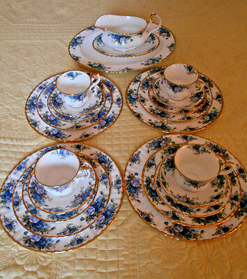 23 P Royal Albert Moonlight Rose China 4 - 5 pieces place setting Gravy Platter