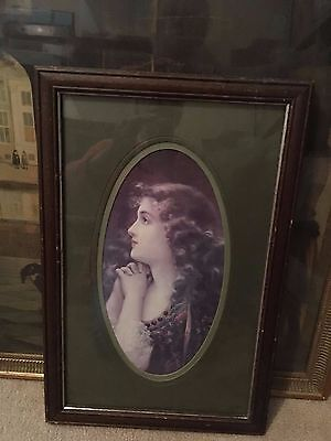 Vintage Reproduction Framed Print of Woman unsigned