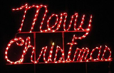 """""""Merry Christmas"""" Cursive Sign Outdoor LED Lighted Decoration Steel Wireframe"""