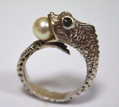 Sterling Silver Fish  with Pearl  Ring signed MEX
