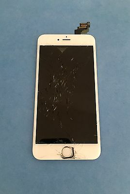 Glass Cracked OEM Original Apple iPhone 6 LCD Screen w/frame White 5.5 Inch