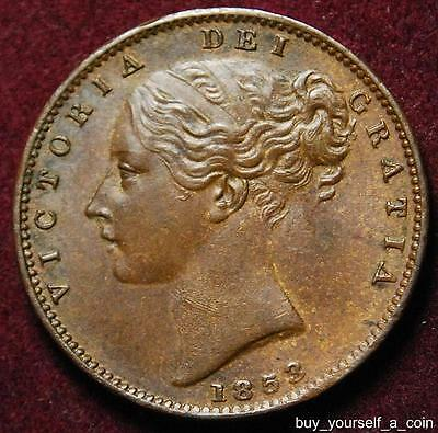 GB Queen Victoria copper farthing 1853 - high grade!