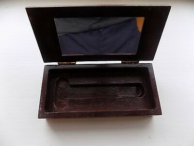 Wooden Antique Vintage Box Treen with Mirror Hinged 6 Inch 15cm