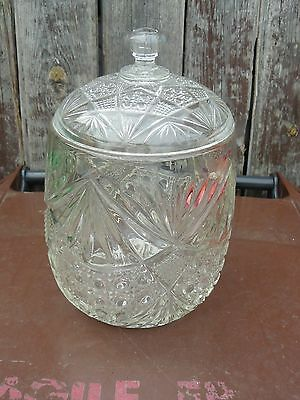 VINTAGE  large PRESSED GLASS BISCUIT BARREL