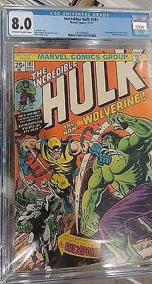 INCREDIBLE HULK 181 CGC 8.0 Off-White to White Pages 1ST APP WOLVERINE 1974