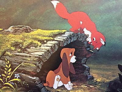 VINTAGE Walt Disney Productions Fox and the Hound Postcard 5 x 7