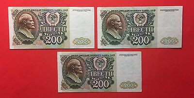 Ussr - 3 Russian  Notes 200 Rubles 1992, V.f Or Better Condition