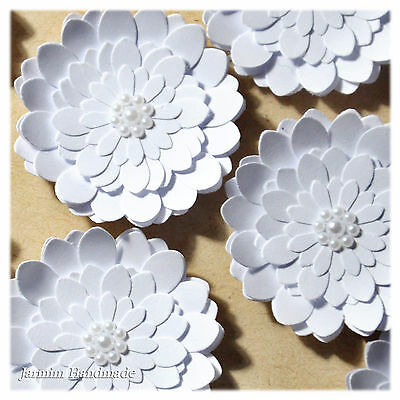 6Pcs White Paper flower Embellishments, Scrapbooking, 38mm