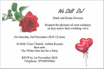 Wedding Blessing/Renewal of Vows Invitations Rose - 25 Invitations Personalised