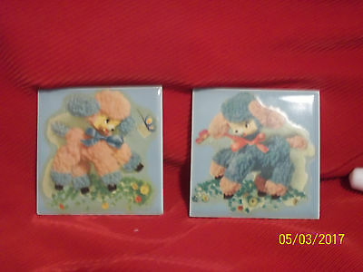 Vntg.Baby Nursery Decor Tile Wall Hangings ~ Set of 2 ~ Lambs Pink & Blue $18.95