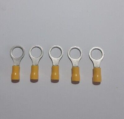 5 x Yellow Insulated 10.5mm Large Ring Terminals