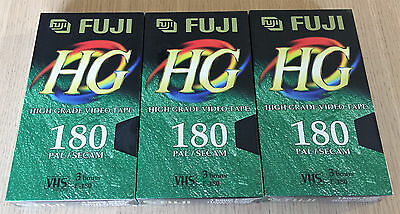 3 x FUJI HG 180 - High Grade Video Tapes  VHS PAL Video Cassettes - NEW & SEALED