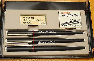 SET 3 Rotring Art Pen Calligraphy Sketch Drawing Italic Lettering Fountain Pen