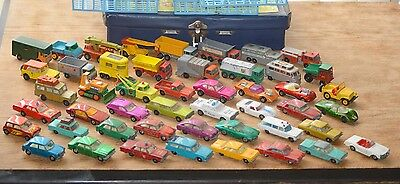 48 matchbox cars,some made by lesney,dated from 60s onwards.