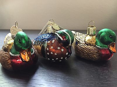 Lot Of 3 Merck Old World Christmas Ornaments Blown Glass Ducks