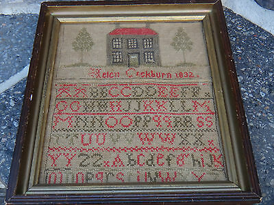 Antique Sampler 1832 Vermont Helen Cockburn Needlework Embroidery Framed Dated