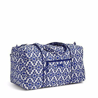 NEW Vera Bradley Large Duffel Travel Bag in Cobalt Tile