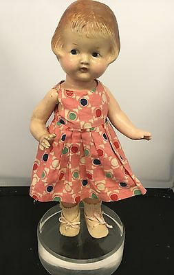 """Vintage Arranbee Kewty Doll 14"""" Composite Molded Hair Painted Eyes Dress Shoes"""