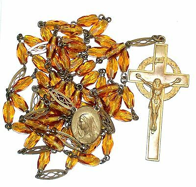Vintage Gold Tone Rosary W/amber Glass Beads Virgin Mary & Jesus Wearing Cross