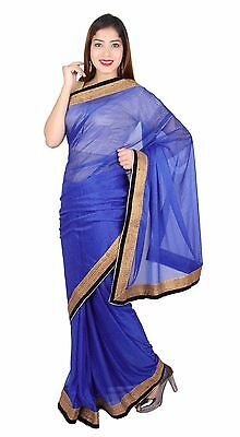 Indian schimmernd Saree gesteppt Bluse Bollywood Mode Partykleidung Outfit 7270