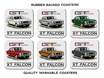 1968  Ford Xt  Gt Falcon  302  V8      Set Of  6  Quality Rubber Drink  Coasters