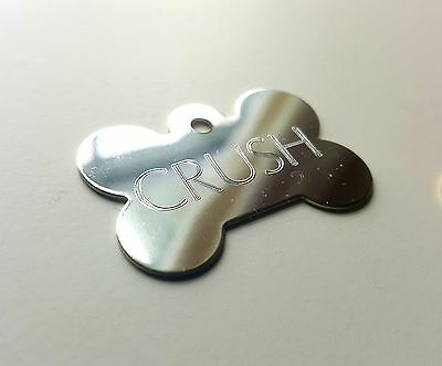 PET TAGS BONE (4.0cm) PREMIUM CHROME ID 2 SIDE DIAMOND ENGRAVE DOG CAT NAME TAG