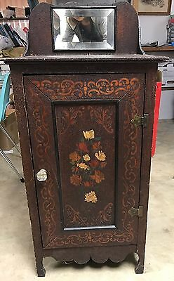 RARE Fabulous Antique Pyrography cabinet hearts ring flowers painted arts crafts