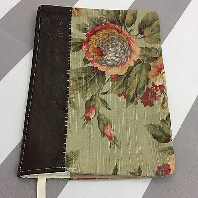 Handmade Leather Composition Notebook Cover Floral Fabric Green Roses Brown N36