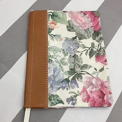 Handmade Composition Notebook Cover Floral Fabric Pink Vintage Style Roses N51