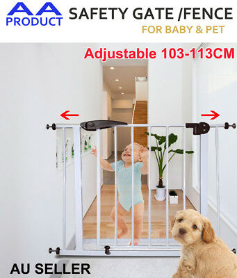 103-113CM Adjustable Baby Pet Child Safety Security Gate Stair Barrier Brown