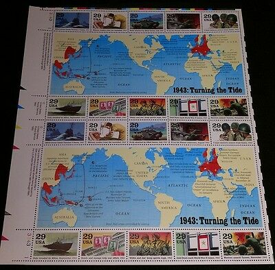 World War 2  Stamp Sheet of 20 Stamps 29 Cents