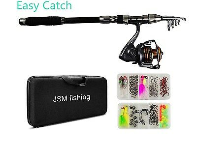 Telescopic Fishing Pole Rod and Reel Combo FULL KIT Case Bag with Lures Jig Hook